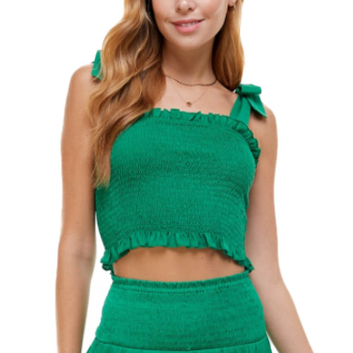 Women's TCEC Woven Smocked Tank Front