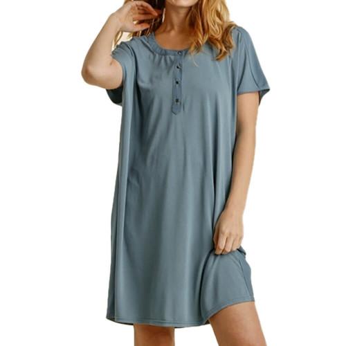 Women's Umgee Button Front Dress Front Seafoam