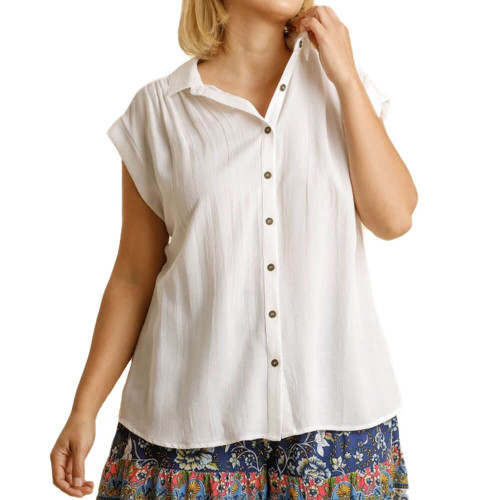 Women's Plus Umgee High Low Button Down Top Front White