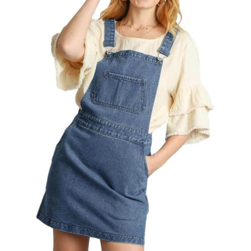 Women's Umgee Denim Overall Dress Front