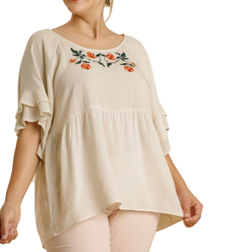 Women's Plus Umgee Floral Embroidered Babydoll Top Front Eggshell
