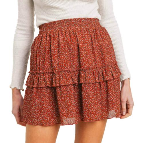 Women's Paper Crane Ruffled Floral Skirt Front