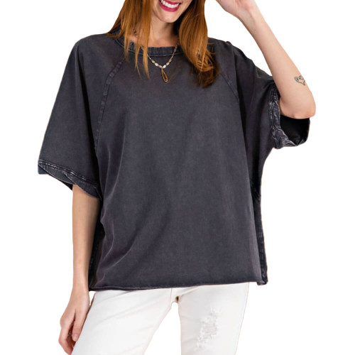 Women's Easel Mineral Washed Loose Fit Top Front