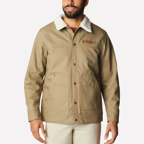Men's Columbia Roughtail Sherpa Lined Jacket Front 250FLAX