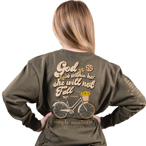Girls' Simply Southern® Long Sleeve God Within Her Tee - Moss