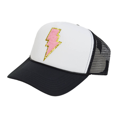 Women's South Black and White Terry Bolt Mix Hat Pink Patch