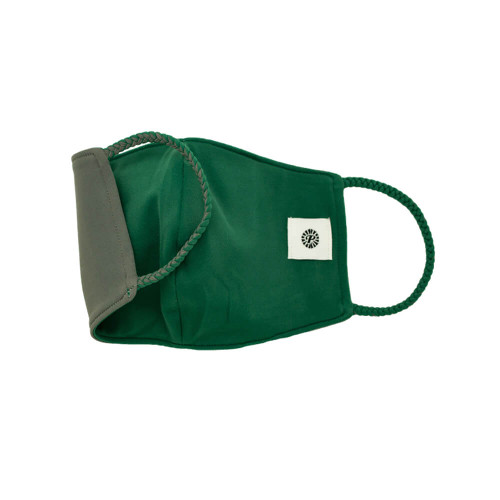 Adult Pomchies Double Layer Reversible Face Mask - Bottle Green/Grey