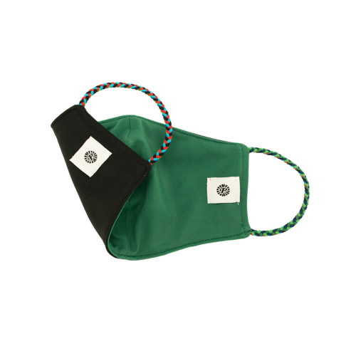 Adult Pomchies Double Layer Reversible Face Mask - Black/Bottle Green