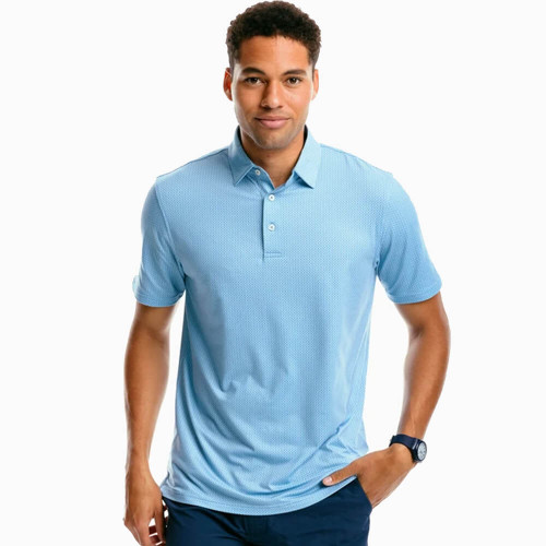 Men's Southern Tide Ryder Geo Print Performance Polo Blue Shadow Front