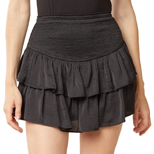 Women's Entro High Waisted Layered Skort Front BLACK