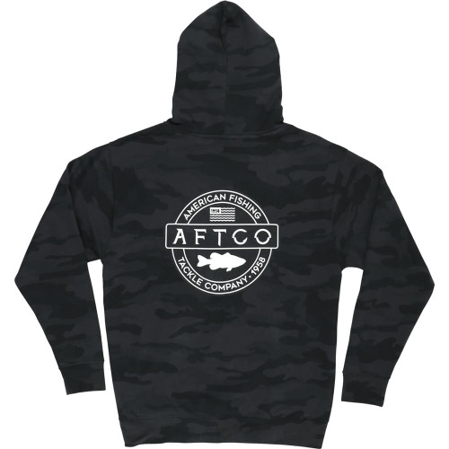 Men's Aftco Bass Patch Pullover Black Camo Hoodie