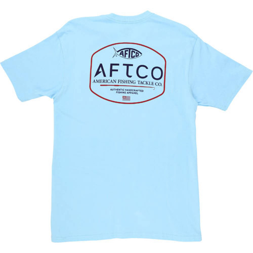Men's Aftco Short Sleeve Handcrafted Light Blue Tee