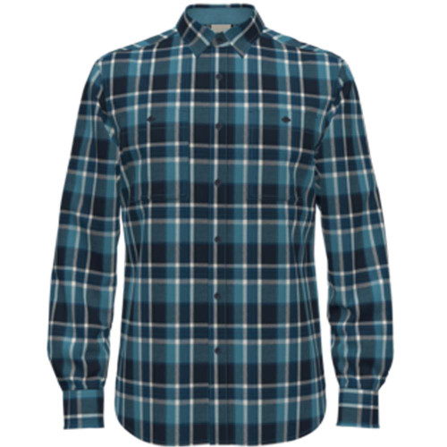 Men's The North Face Arroyo Button Up Flannel Shirt 36M-Storm Blue Small Half Dome Plaid Front