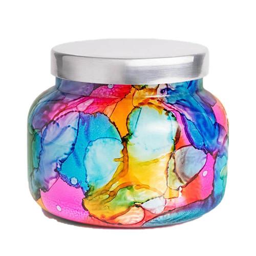 Capri Blue Volcano Rainbow Watercolor Jar Candle