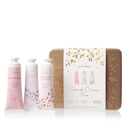 Thymes Kimono Rose, Lavender Honey, Goldleaf Gardenia Hand Cream Trio