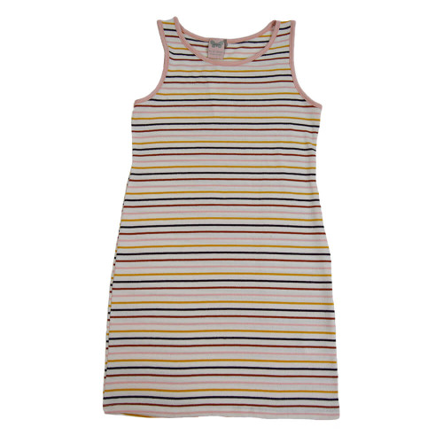 Girls' For All Seasons Striped Terry Loop Dress Ivory Multi