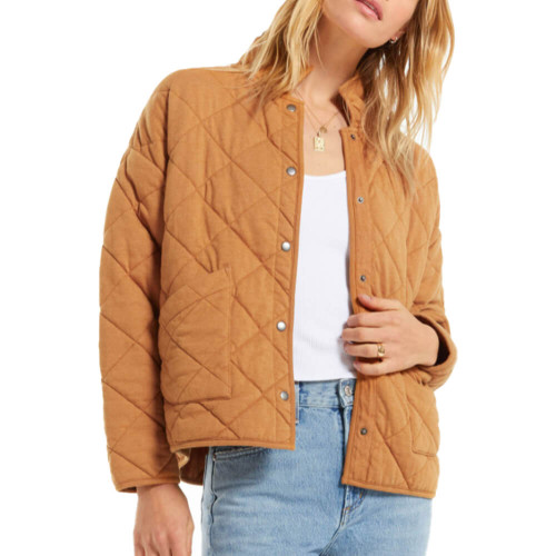 Women's Z Supply Maya Quilted Camel Brown Jacket