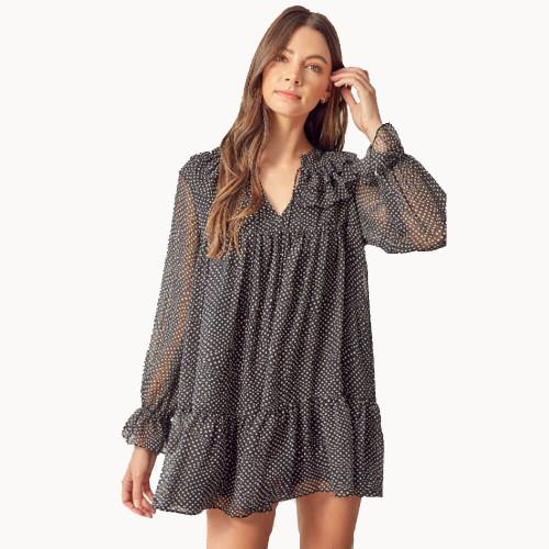 Women's Mustard Seed Polka Dot Ruffle Dress