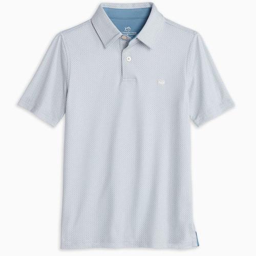Boys' Southern Tide Ryder Geo Print Performance Polo Shirt