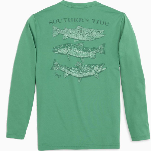 Boys' Southern Tide Spotted Trout Performance Tee Bottle Green Back