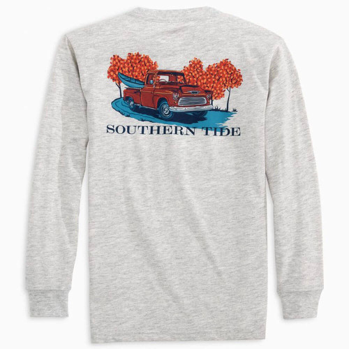 Boys' Southern Tide Old Truck Road Tee Heather Light Grey Back
