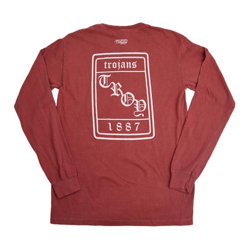 Men's Troy Southern Collegiate Vintage Old English Long Sleeve T-Shirt Crimson Back