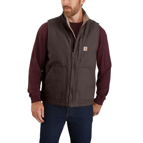 Men's Carhartt Washed Duck Sherpa Lined Dark Brown Vest