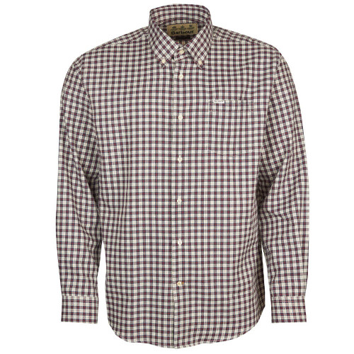 Men's Barbour Thornly Thermo Weave Button Down Red Shirt