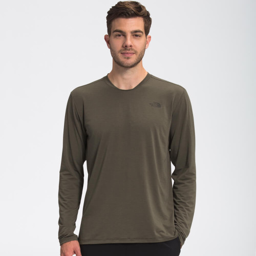 Men's The North Face Long Sleeve Wander Tee 7D0 New Taupe Green Heather