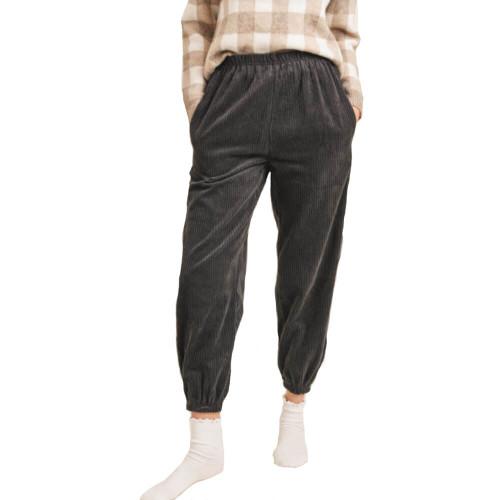 Women's Sadie & Sage Do Si Dos Cord Charcoal Pants