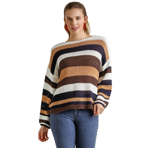 Women's Umgee Multicolored Striped Sweater Navy Brown