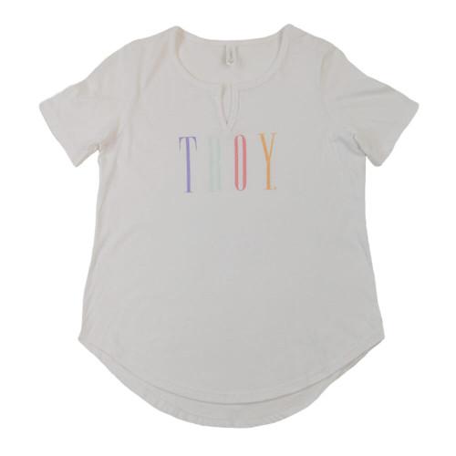 Women's Troy Southern Collegiate Rainbow Wordmark V-Neck White Tee