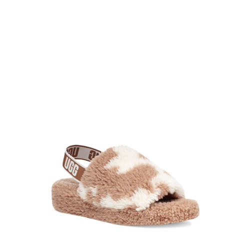 Women's Ugg Fluff Yeah Slide Cow Print Slippers Front MSS