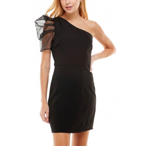 Women's TCEC One Sheer Shoulder Dress Black