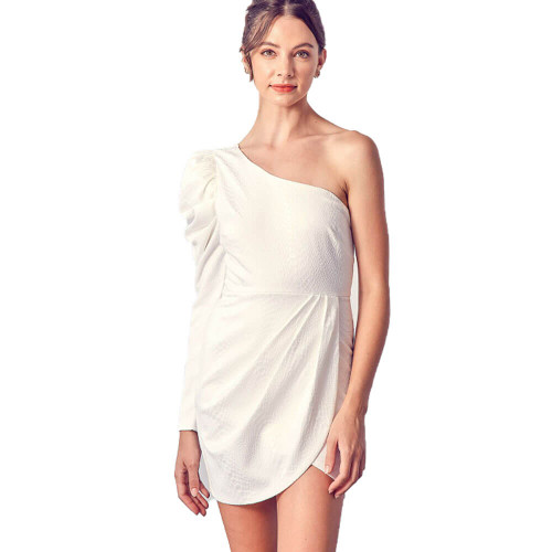 Women's DO+BE One Shoulder Puff Sleeve White Dress