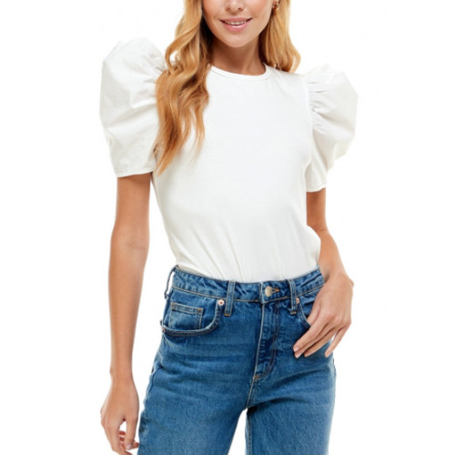 Women's TCEC Puff Sleeve Cotton White Top