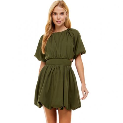 Women's TCEC Cut Out Bubble Olive Dress