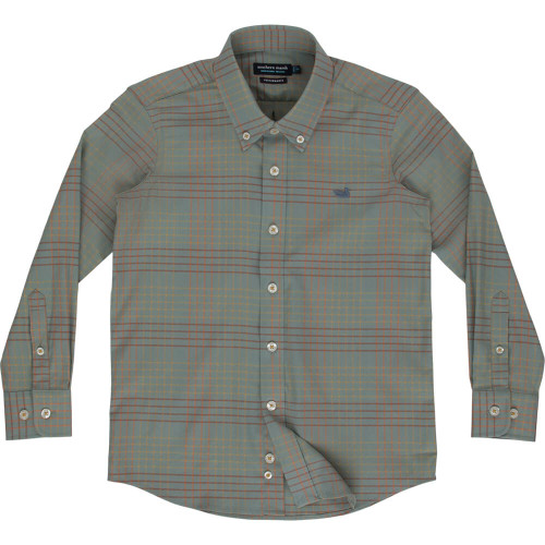 Boys' Southern Marsh Winfield Grid Performance Sage Field Khaki Shirt