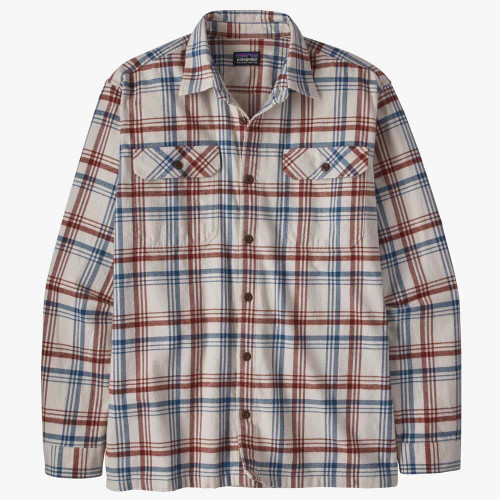 Men's Patagonia Organic Midweight Fjord Flannel Shirt Drifted Cornice Grey