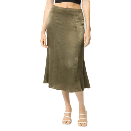 Women's Mystree Satin Fit Flare Olive Skirt