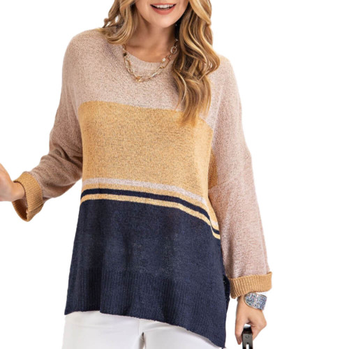 Women's Easel Colorblock Knit Sweater Front TAUPENVY