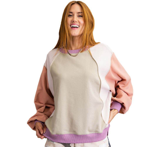 Women's Easel Colorblock Terry Pullover Front FADESAGE