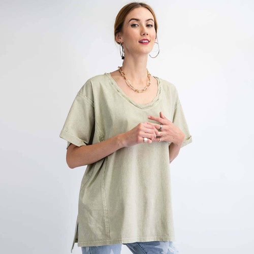 Women's Easel Washed Boxy Knit Top Front ERTHSAGE
