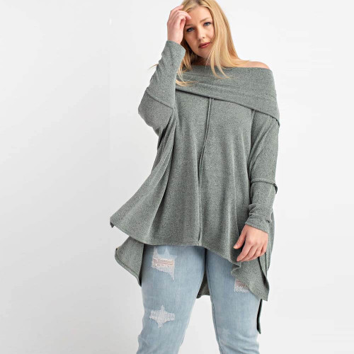 Women's Easel Cowl Neck Sweater - Plus Size Front OLIVE