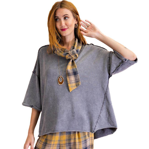 Women's Easel Mineral Washed Boxy Top Front ASH