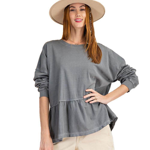 Women's Easel Mineral Wash Ruffle Bottom Top Front ASHBLUE