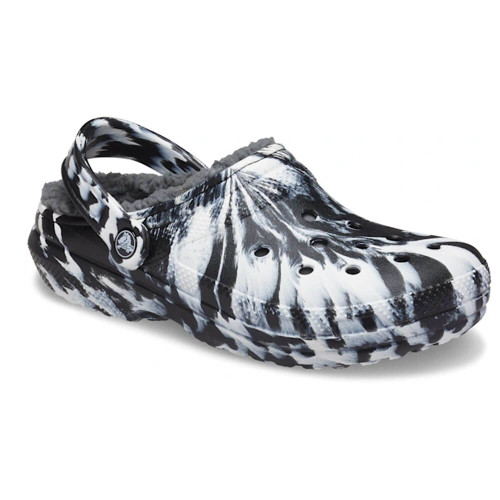 Women's Crocs Classic Lined Marbled White & Black Clog