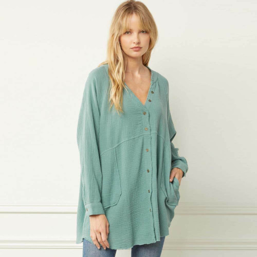 Women's Entro Textured V-Neck Woven Top Front FOREST