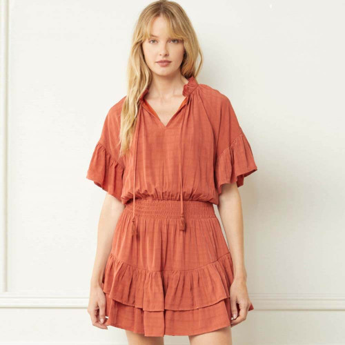 Women's Entro V-Neck Layered Tiered Dress Front BRICK