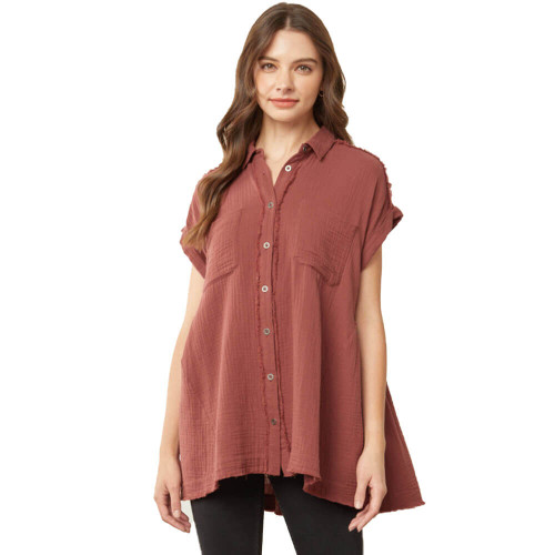 Women's Entro Textured Button Down Top Front CHOCOLATE